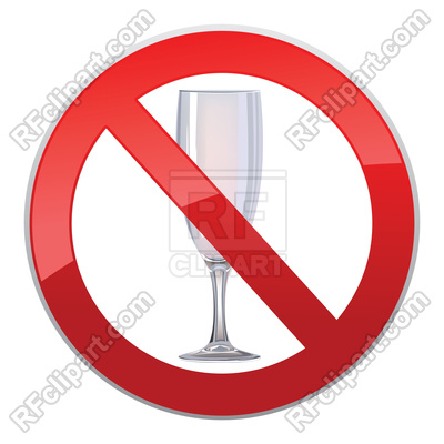 No alcohol drink sign. Prohibition icon. Vector Image.