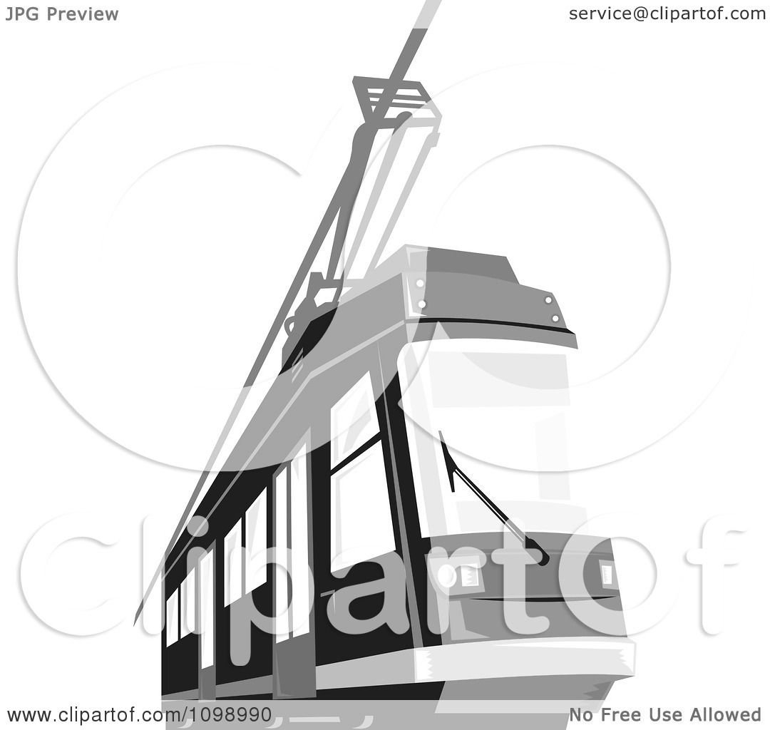 Clipart Retro Grayscale Cable Street Car Tram 1.