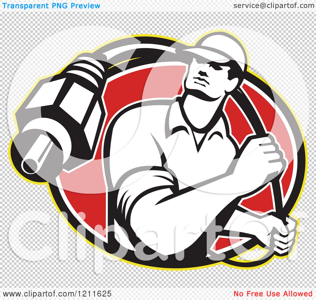 Clipart of a Retro Cable Tv Guy with a Coaxial Cable over a Red.