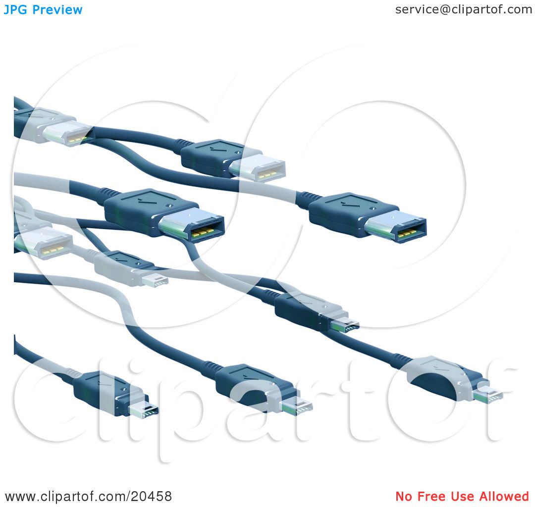 Clipart Illustration Of A Swarm Of Black Firewire Computer Cables.