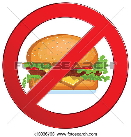 Clipart of No fast food label k13036763.