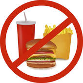 Clipart of No fast food, no sweets warning red k12695414.