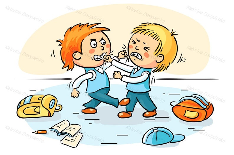 Two schoolboys are fighting. Education clipart, teaching clipart, school  clipart, Children clipart, kids clipart, kids svg, doodle clipart.