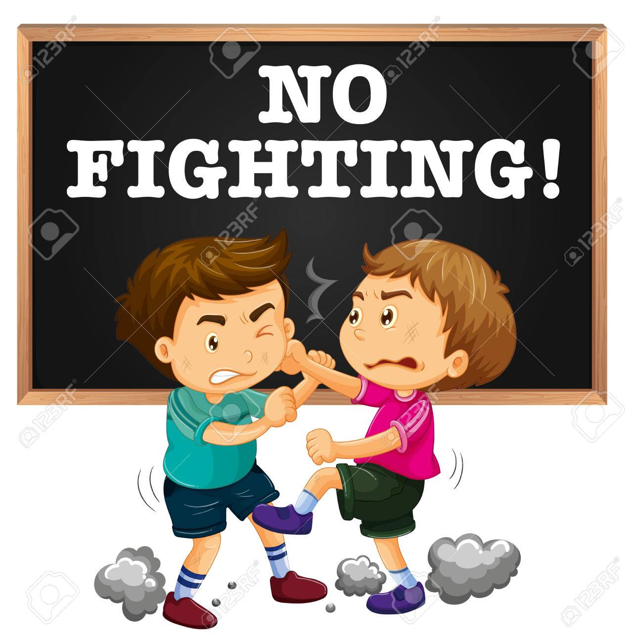 No fighting sign and boy fighting illustration.