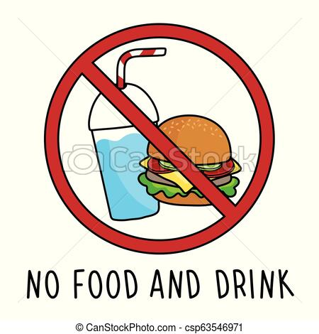 vector no food and drink allowed area symbol sign. doodle hand drawing.  isolated on white background..