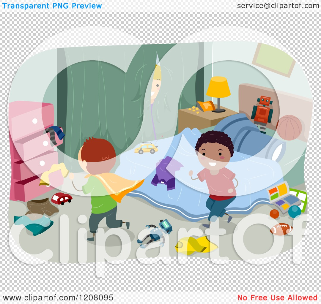 Cartoon of Happy Diverse Boys Playing in a Messy Bedroom.
