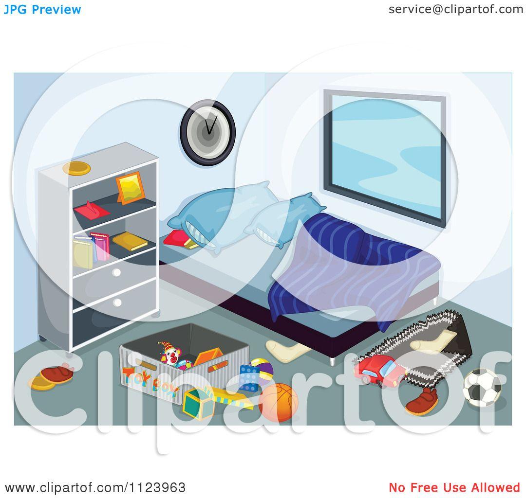 Cartoon Of A Messy Unkept Bedroom.