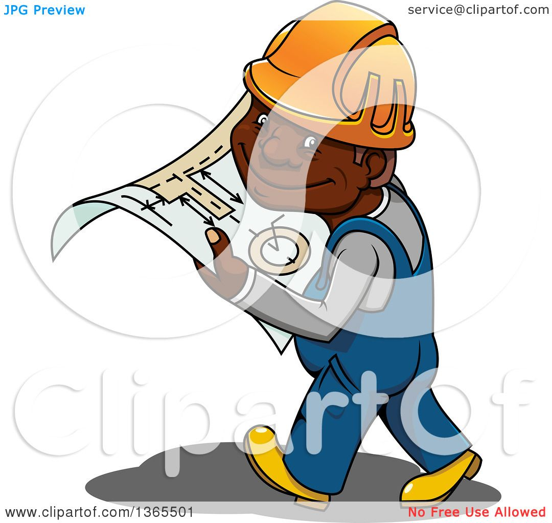 Clipart of a Cartoon Happy Black Male Construction Worker Walking.