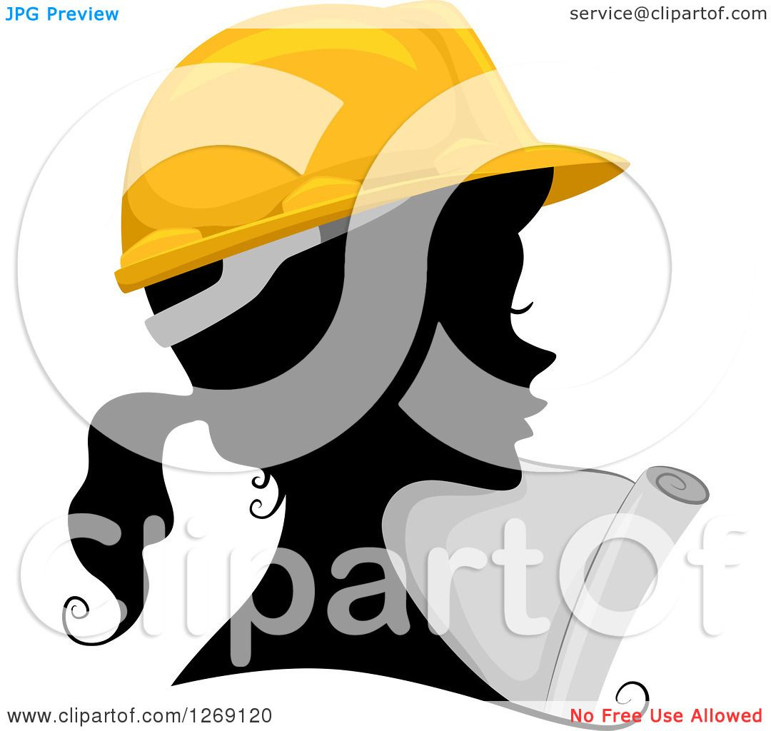 Clipart of a Silhouetted Black Contractor Engineer Woman's Face.