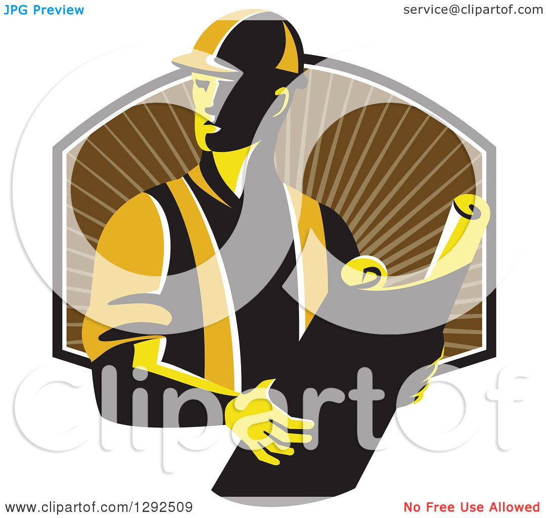 Clipart of a Retro Male Construction Worker Foreman Holding Plans.