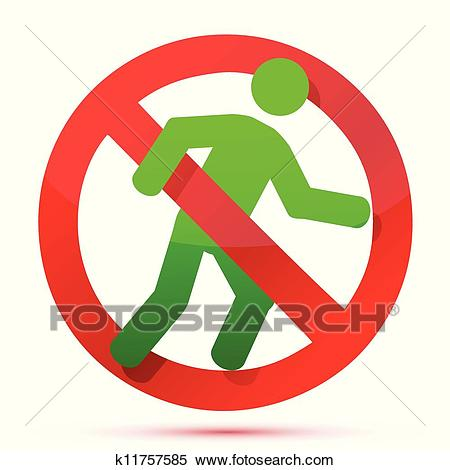 No running sign Clipart.