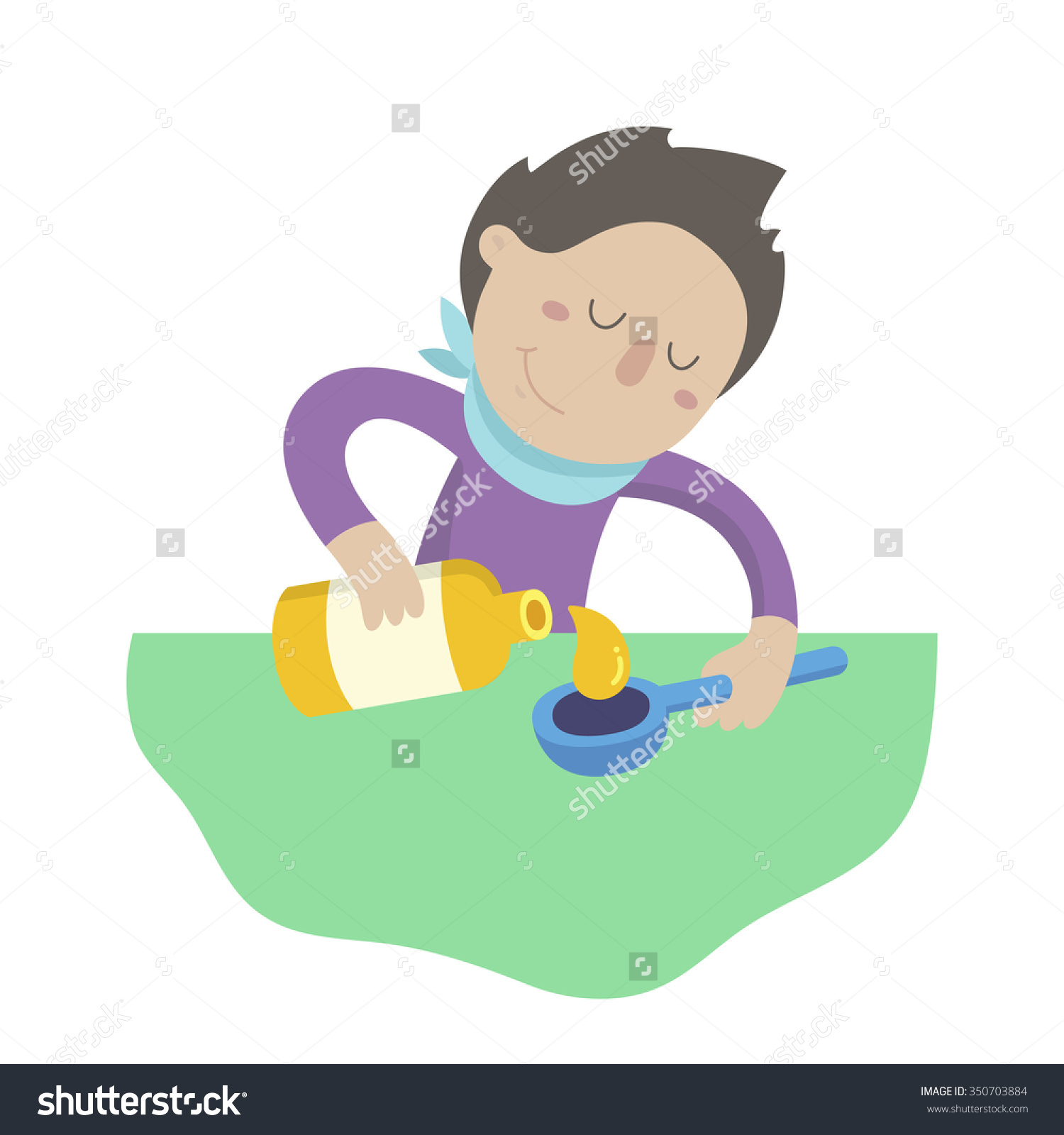 Sick Man Pours Cough Syrup Spoon Stock Vector 350703884.