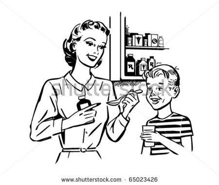 Sick Child And Mom Clipart No White.