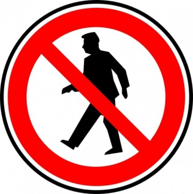 No Walking Sign Clipart.