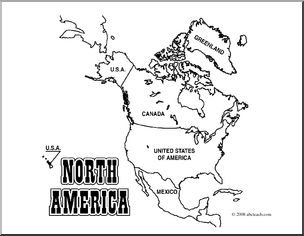 Clip Art: North America Map (coloring page) Labeled.
