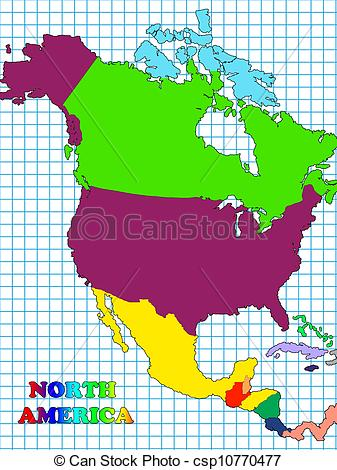 Stock Illustrations of North America map with countries.
