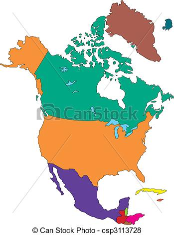 Vector of North America with Countries.