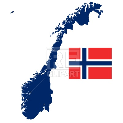 Kingdom of Norway map and flag Vector Image.