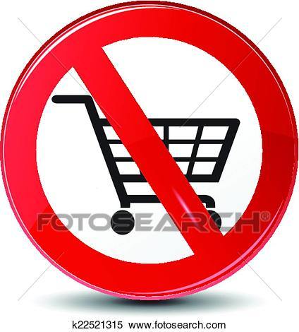 Shopping restriction, not allowed, vector Clipart.