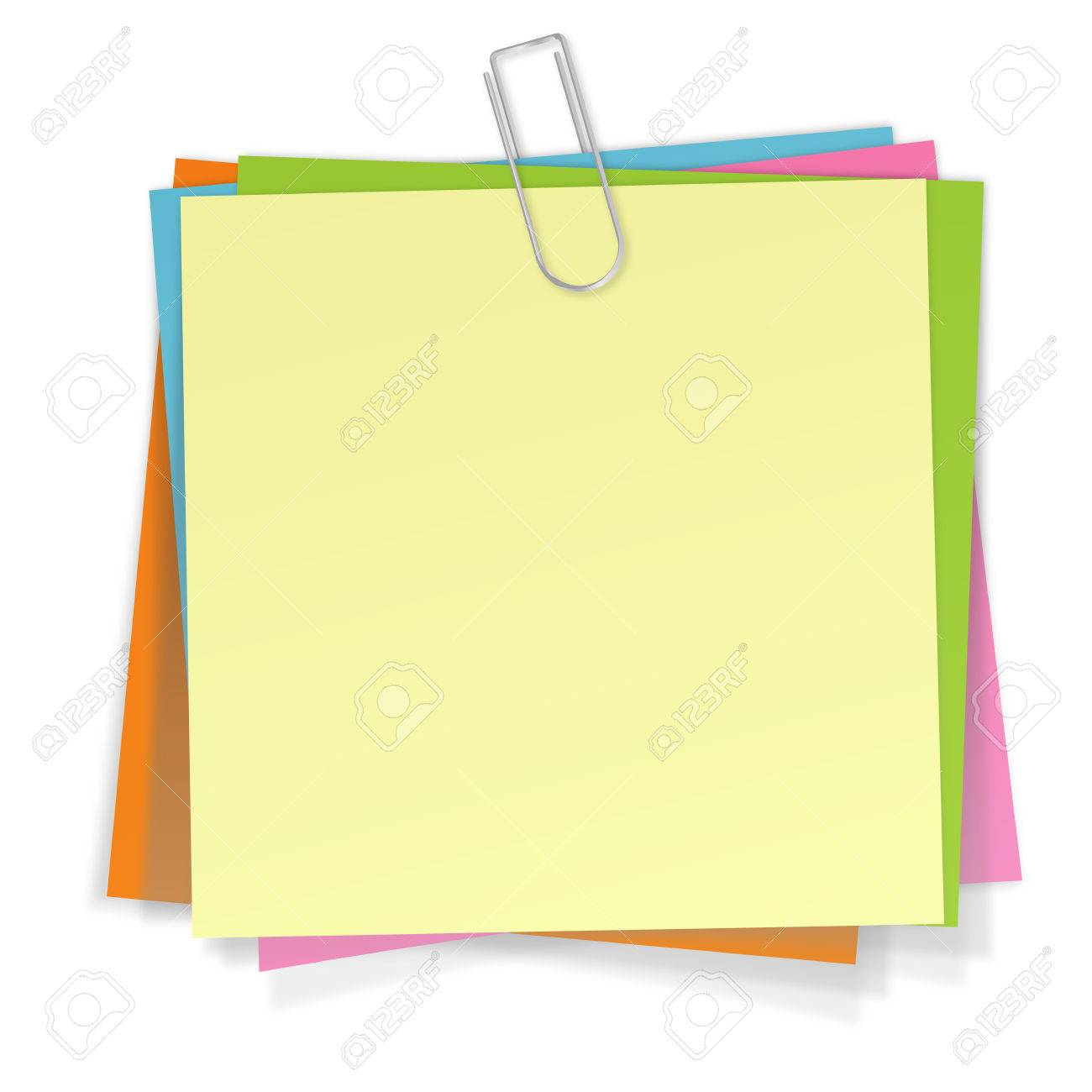 Sticky Notes in different colors with silver paper clip.
