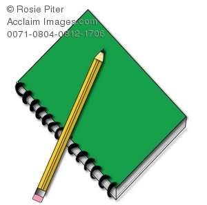Clipart Picture of a Spiral Notebook and Pencil.