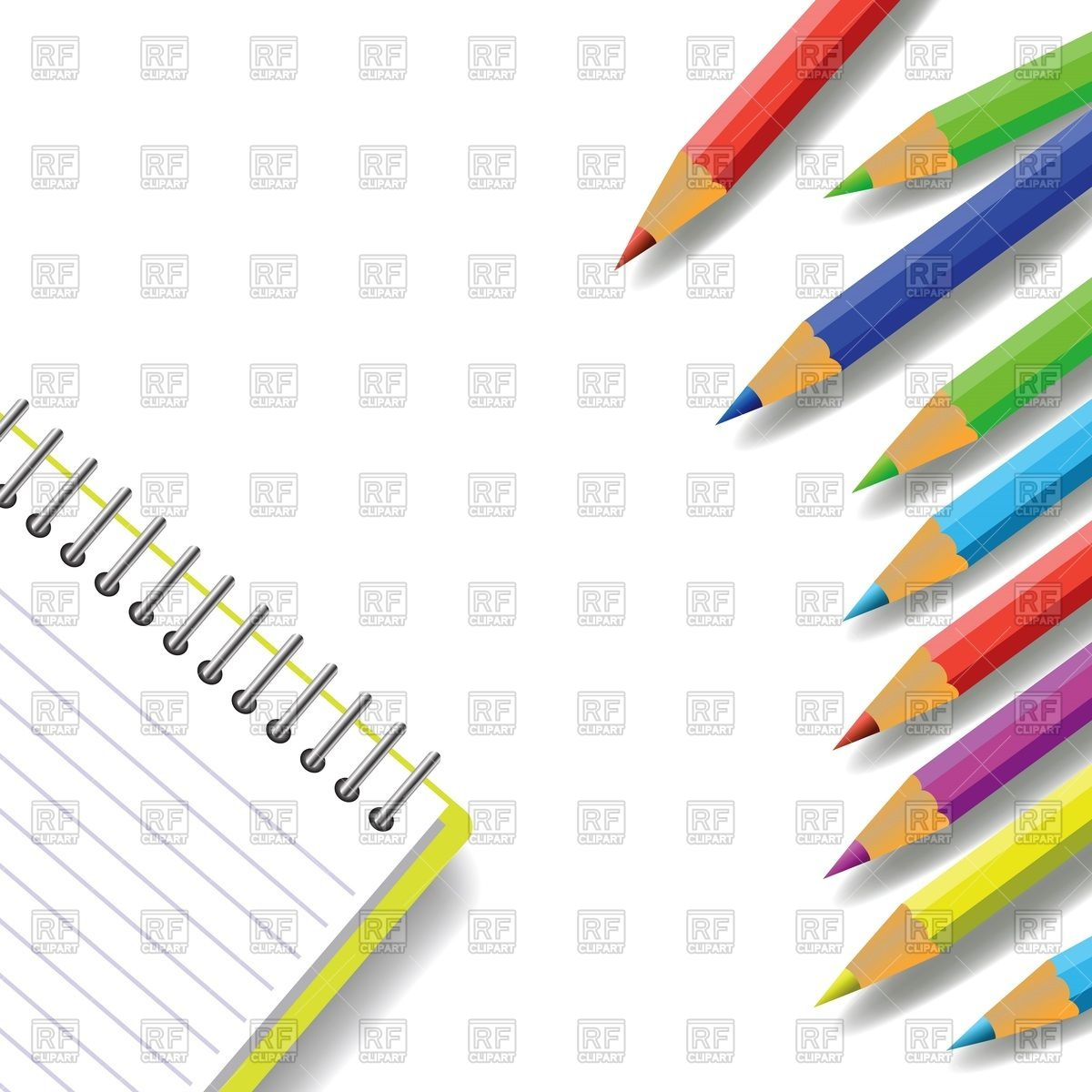Notebook and colorful pencils Stock Vector Image.