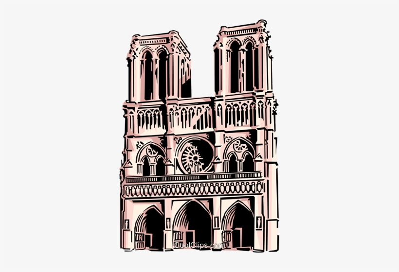 Notre Dame Cathedral Royalty Free Vector Clip Art.