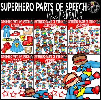 Superhero Parts Of Speech Clip Art Bundle {Educlips Clipart}.