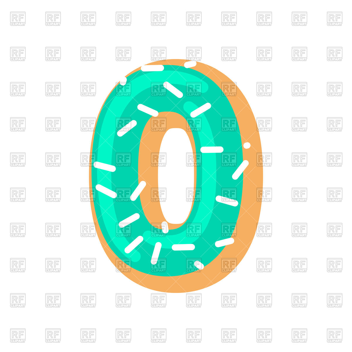 Number 0 donut font Stock Vector Image.