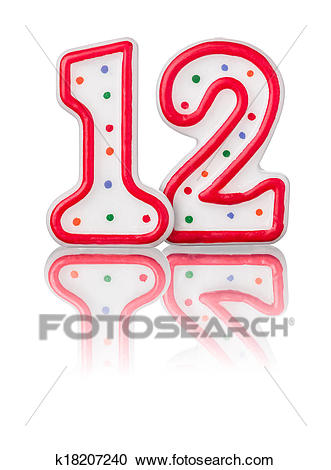 Red number 12 with reflection Clipart.