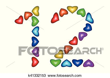 Number 12, twelve made of colorful hearts on white Clipart.