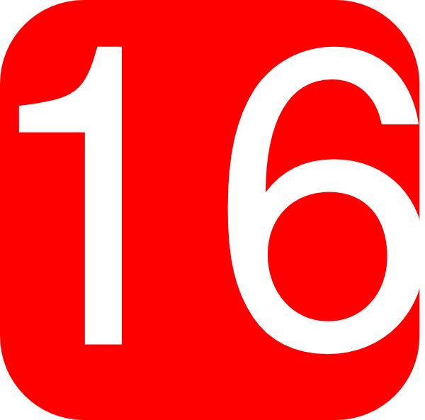 Red, Rounded, Square With Number 16 Clip Art at Clker.com.