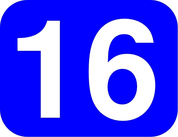 Blue Rounded Rectangle With Number 16 clip art Free vector.