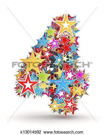 Clip Art of Number 4 from colored stars k13014592.