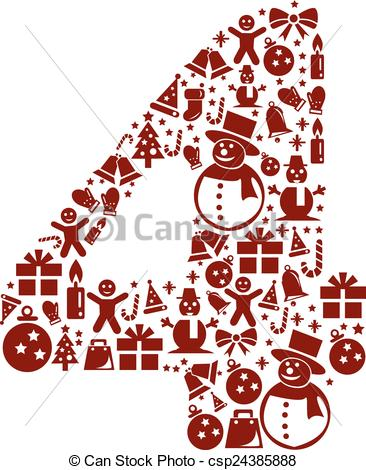 Clipart number 4 christmas.