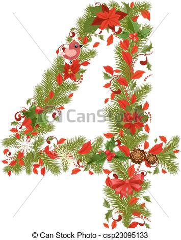 Vectors of christmas floral tree number 4 csp23095133.