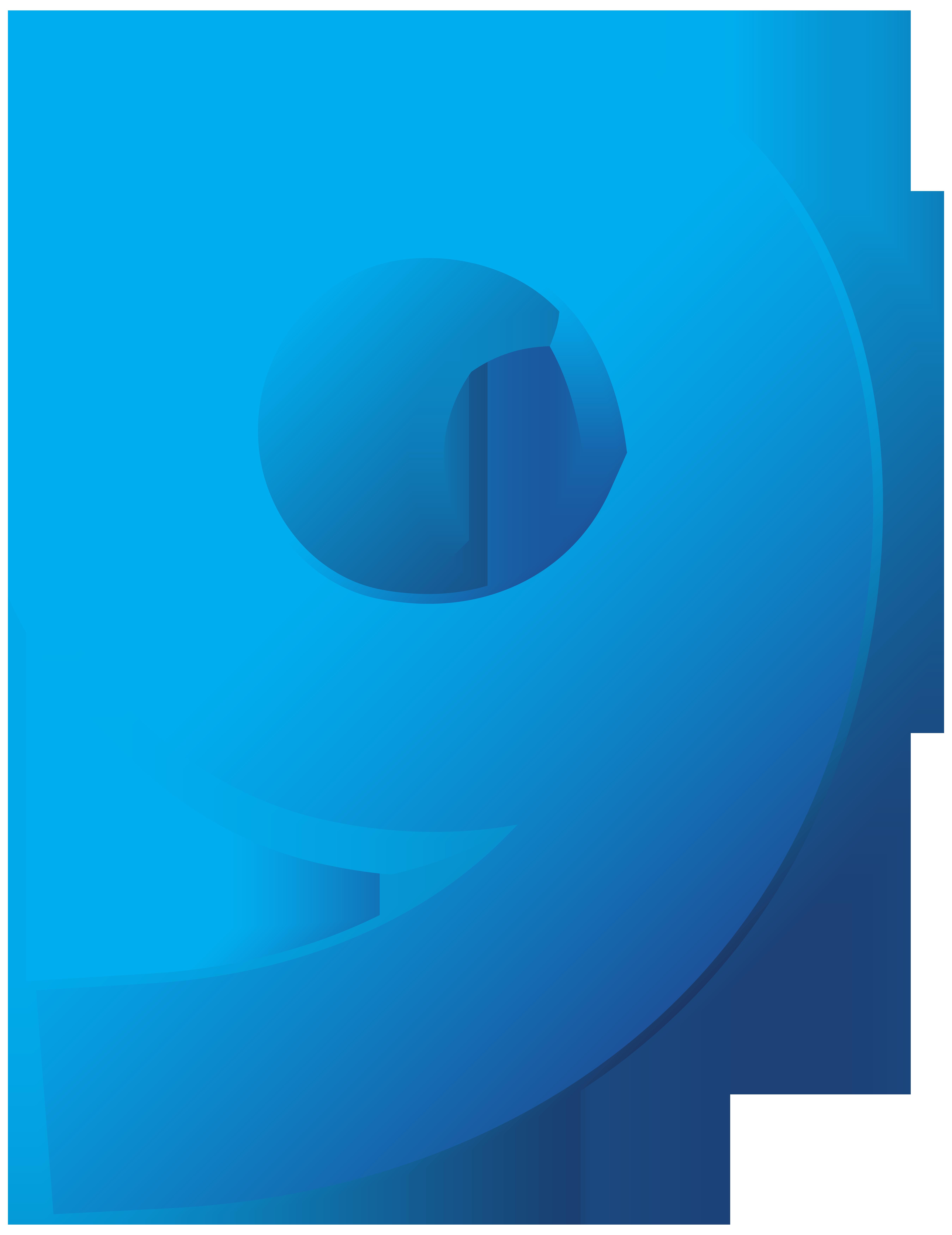 Blue Number Nine Transparent PNG Clip Art Image.