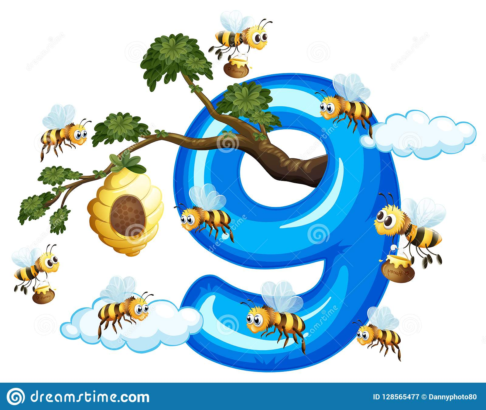 Nine bee with number nine stock vector. Illustration of clipart.