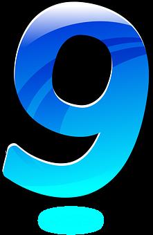 Blue, Glossy, Nine, Number, Numbers.