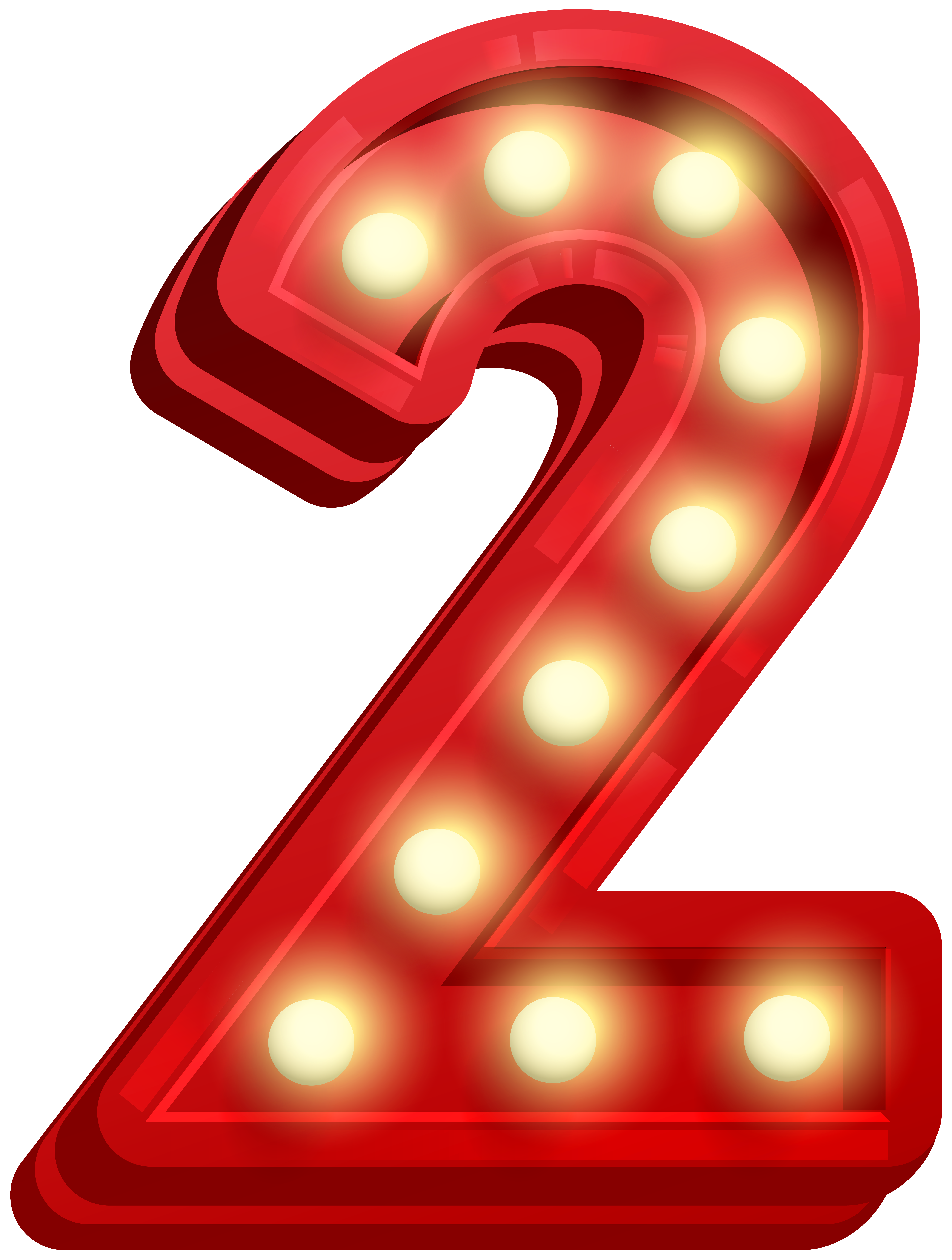 Number Two Glowing PNG Clip Art Image.