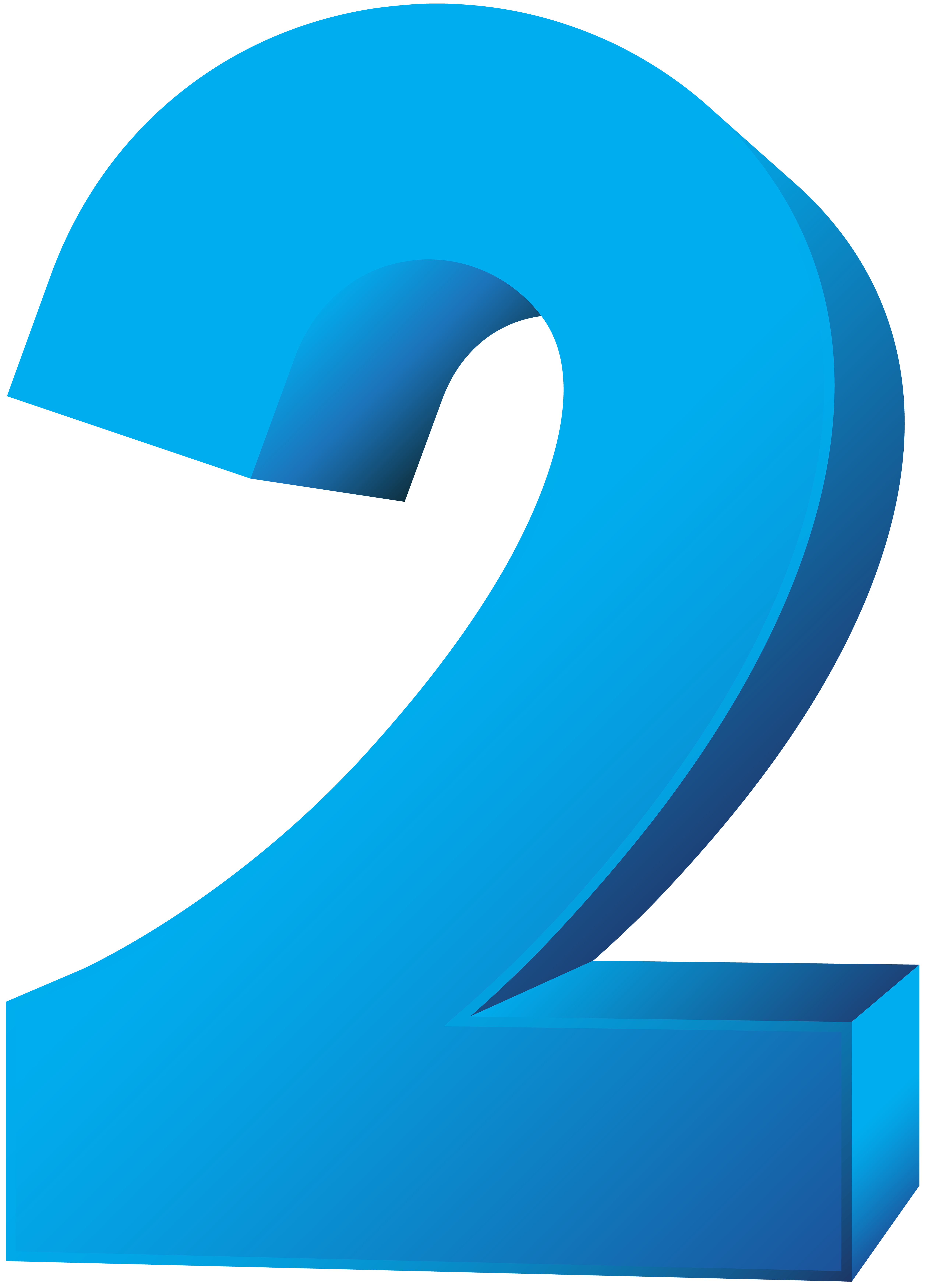 Blue Number Two Transparent PNG Clip Art Image.