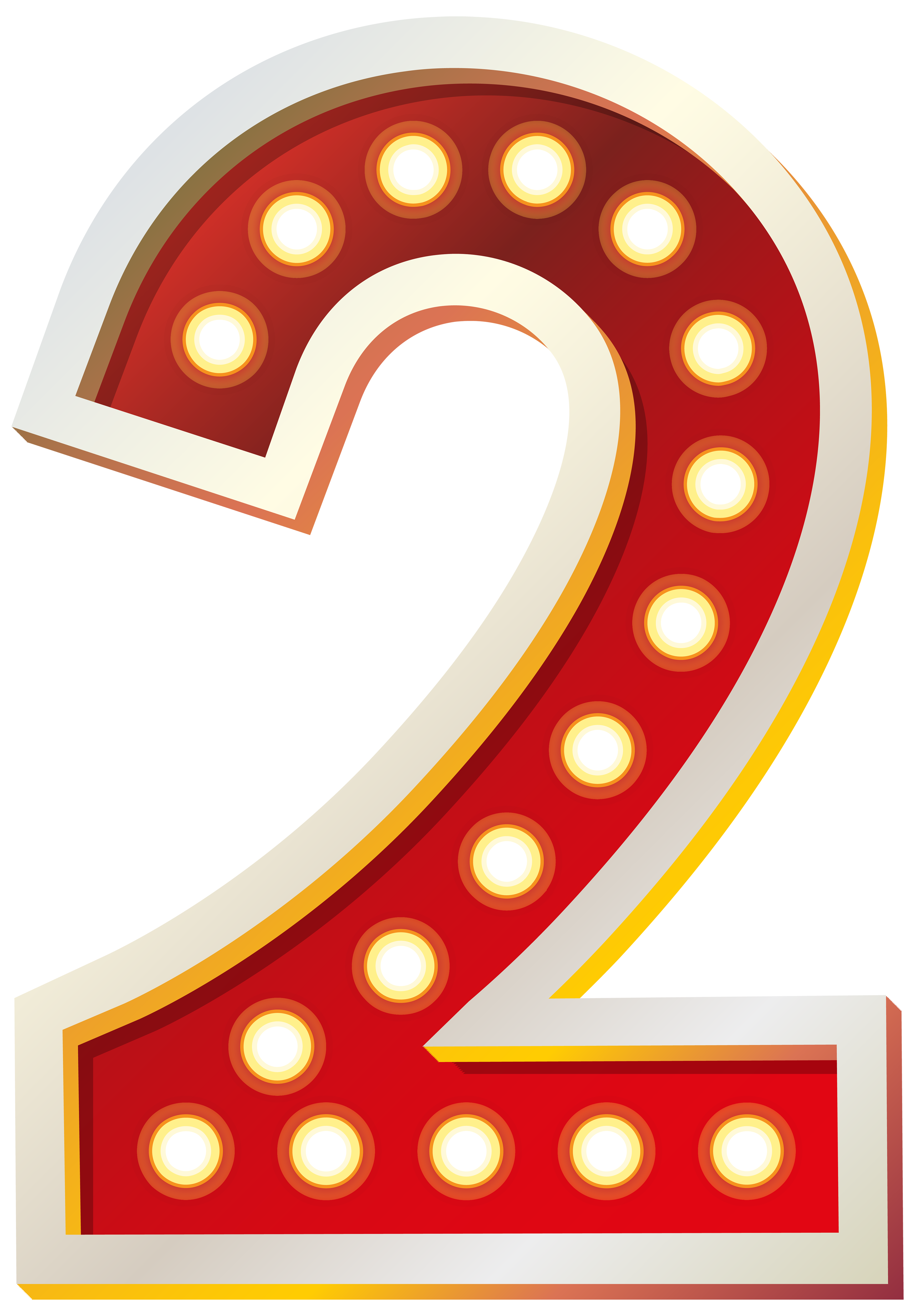 Red Number Two with Lights PNG Clip Art Image.