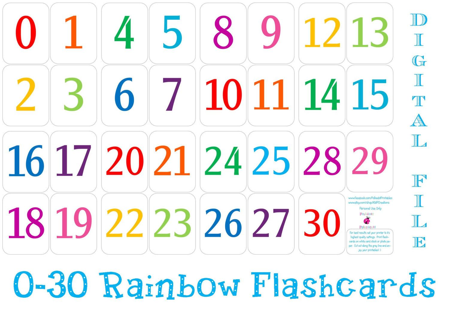 Printable Number Cards 1 30.