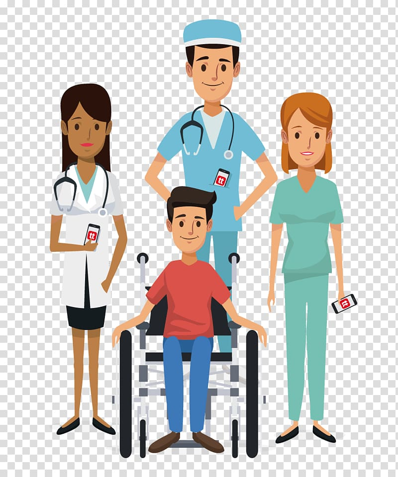 Doctor and nurses standing behind patient on wheelchair.