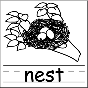 Clip Art: Basic Words: Nest B&W Labeled I abcteach.com.
