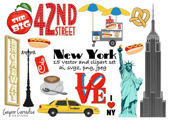 New York clipart NY clip art City graphics big apple vectors planner  clipart travel planner stickers commercial use America pngs icons.