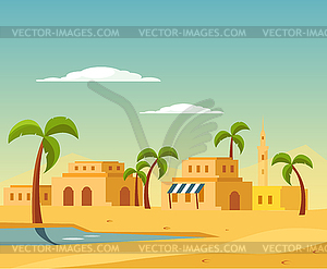 Oasis With Town In Desert.