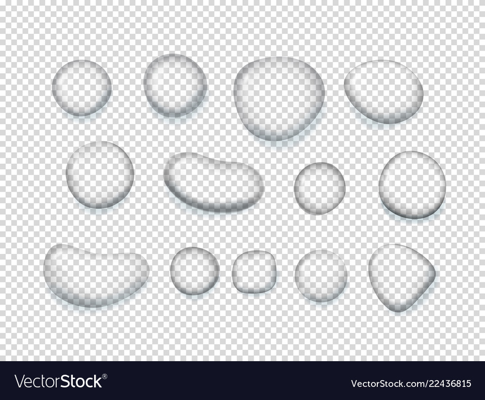 Clear water drops clipart objects isolated on.