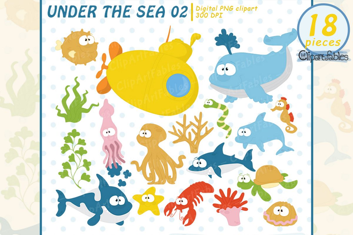 Sea animals clip art, Nautical clipart, ocean theme design.