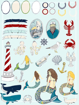 Nautical Clip Art, Mermaid, Crab, Ocean Life Clipart, Sailor Digital  Graphics.